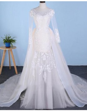 Bateau Lace Applique Tulle Mermaid Long Sleeve Wedding Dress with Detachable Skirt WD2227