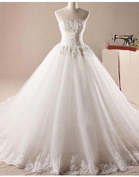 Strapless Lace Bodice Pleated Ball Gown Wedding Dress with Appliques WD2228
