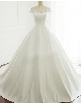 Scoop Lace Applique A-line Satin Fall Wedding Dress with Short Sleeves WD2230