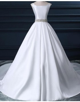 Simple Scoop White Satin Fall Wedding Dress with Beading Belt WD2231