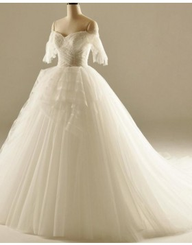 Off the Shoulder Ruched White Ball Gown Wedding Dress WD2236