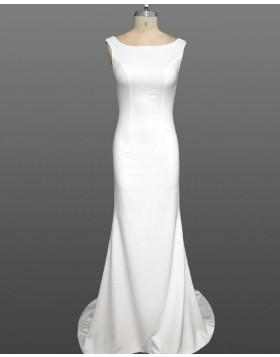 Simple Scoop White Mermaid Satin Wedding Dress WD2237
