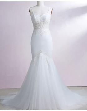 Spaghetti Straps White Lace Appliqued Mermaid Wedding Dress WD2241