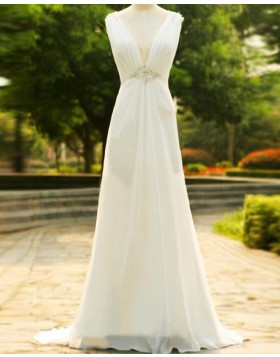 Deep V-neck Ruched Ivory Sheath Wedding Dress with Beading WD2242