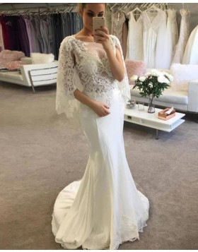 Scoop Ivory Lace Bodice Mermaid Wedding Dress with Half Length Sleeves WD2246