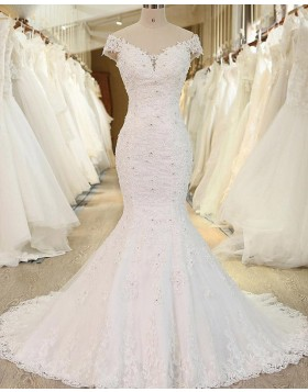 Off the Shoulder White Beading Lace Applique Mermaid Wedding Dress WD2248