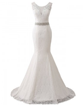 Deep V-neck Vintage Lace Mermaid Wedding Dress with Belts WD2251