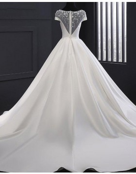 Gorgeous Jewel Lace White Bodice Satin Fall Wedding Dress WD2252