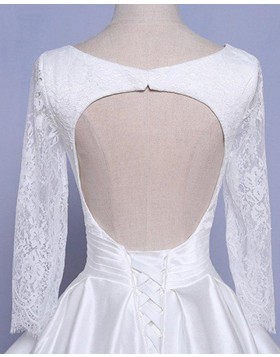 V-neck Lace Applique White Satin Ball Gown Wedding Dress with Long Sleeves WD2254