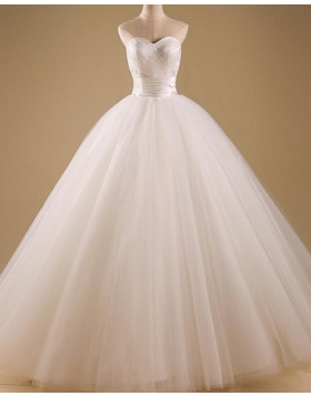 Simple Sweetheart Ruched Ivory Tulle Wedding Gown WD2255