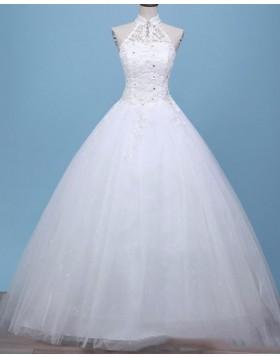 High Neck Beading Applique A-line Wedding Dress WD2256