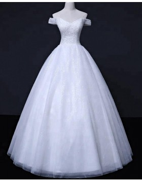 Off the Shoulder White Sequin Beading Wedding Gown WD2257
