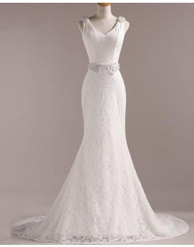 V-neck Vintage Lace Mermaid Wedding Dress with Beading Belt WD2258