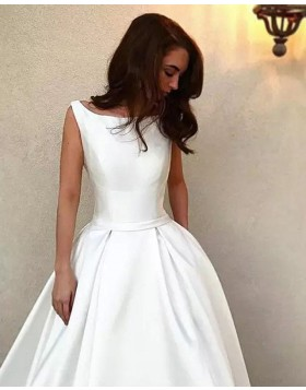 Bateau White Simple Satin A-line Wedding Dress WD2262