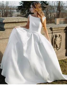 Bateau White Simple Satin A-line Wedding Dress WD2262