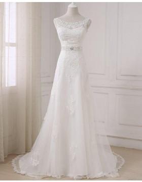 Bateau Lace Applique A-line Wedding Dress with Beading Sash WD2265