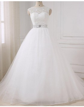 Jewel Lace Bodice White Tulle Wedding Dress with Beading Belt WD2268