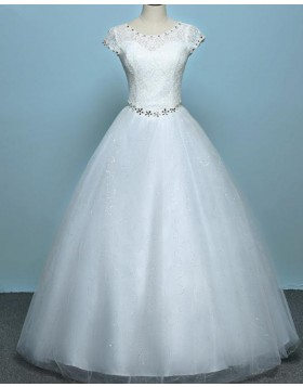 Scoop Beading Lace Bodice White Tulle Wedding Gown WD2269