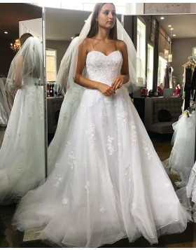 Sweetheart Lace Appliqued White A-line Wedding Dress WD2271