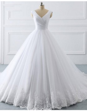 V-neck White Ruched Tulle Lace Appliqued A-line Wedding Dress WD2272