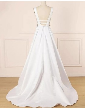 Deep V-neck Satin Ivory Cutout Pleated Wedding Dress WD2273