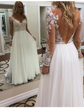 V-neck Lace Appliqued Bodice White Sheath Wedding Dress with Long Sleeves WD2276