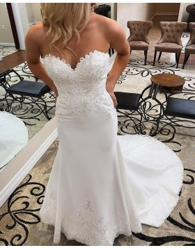 Sweetheart Lace Appliqued White Mermaid Wedding Dress WD2277