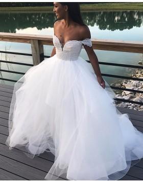 Off the Shoulder Lace Bodice White Ruffled Wedding Dress WD2280