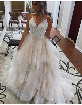 V-neck Lace Bodice Champagne Tulle Ruffled Wedding Dress WD2282