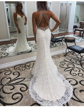 Spaghetti Straps White Lace Mermaid Wedding Dress WD2283