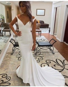 V-neck Simple White Mermaid Satin Wedding Dress for Fall WD2284