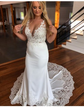 V-neck Lace White Appliqued Mermaid Satin Wedding Dress WD2285