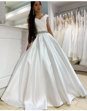 Simple V-neck Ruched White Satin Wedding Dress with Belt WD2288