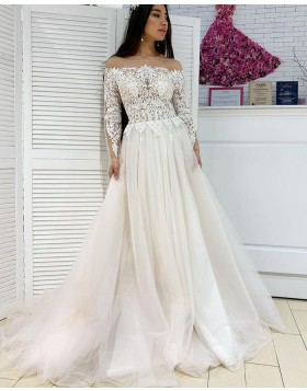 Sheer Neck Lace Bodice Pleated Tulle Wedding Dress with Long Sleeves WD2289