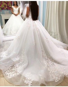 Scoop Lace Appliqued White Ball Gown Wedding Dress WD2290