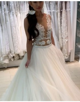 Sheer Neck Lace Appliqued Bodice Tulle Wedding Dress WD2291