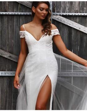 Cold Shoulder Lace Sheath Wedding Dress with Side Slit WD2292