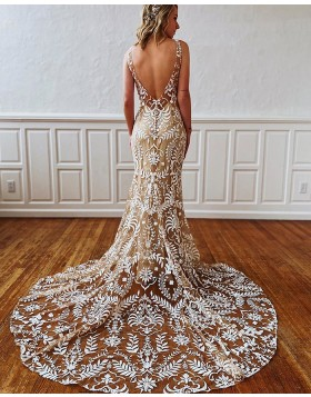 V-neck Lace Mermaid Champagne Wedding Dress