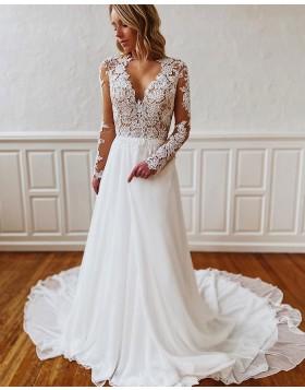 V-neck Lace Bodice White Wedding Dress with Long Sleeves