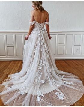 Square Lace Applique Ivory A-line Wedding Dress