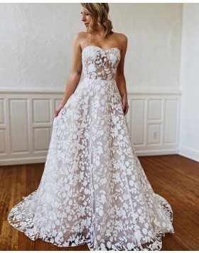 Sweetheart White Lace A-line Wedding Dress