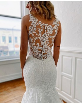 Strapless Jewel Neckline Lace Mermaid Wedding Dress