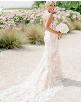 V-neck Champagne Lace Mermaid Wedding Dress
