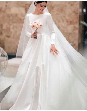 Jewel Neck Satin White Wedding Dress with Long Sleeves