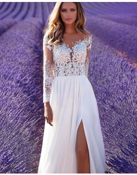 Lace Bodice White Long Sleeve A-line Wedding Dress with Side Slit