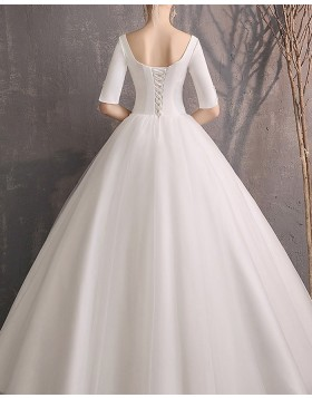 Square Neckline Tulle Wedding Dress with Half Length Sleeves