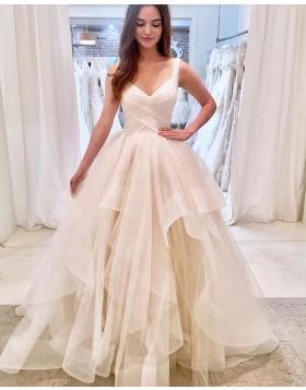 Strapless V-neck Ivory Ruffled Tulle Wedding Dress