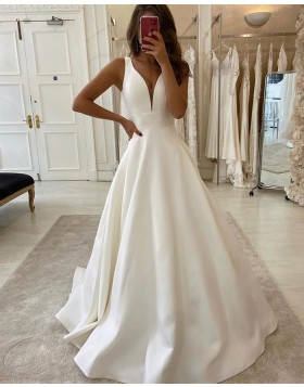 Simple V-neck White Satin Wedding Dress for Fall