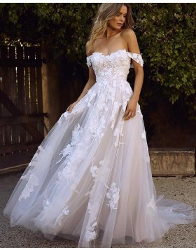 Off the Shoulder Applique Lace Wedding Dress