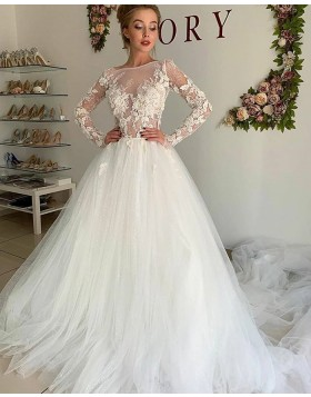 Jewel Neckline Lace Bodice Ivory Tulle Wedding Dress with Long Sleeves